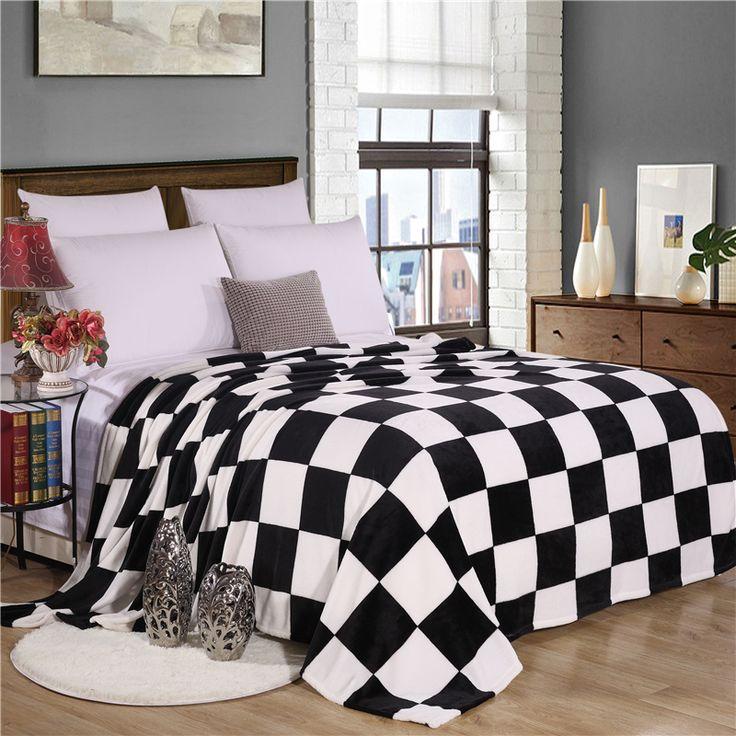 150 × 200センチ黒と白のチェック柄スーパーソフト暖かいチェック柄プリントサンゴフリースブランケット上ソファ/ベッド/飛行機旅行チェック模様patchwo
