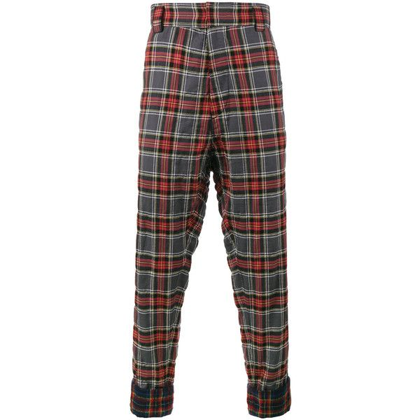 Haider Ackermann Tartan Cuff Detail Trousers (915 CAD) ❤ liked on Polyvore featuring men's fashion, men's clothing, men's pants, men's casual pants, red, mens red pants, mens tartan plaid pants, mens red plaid pants, mens red tartan pants and mens tartan pants
