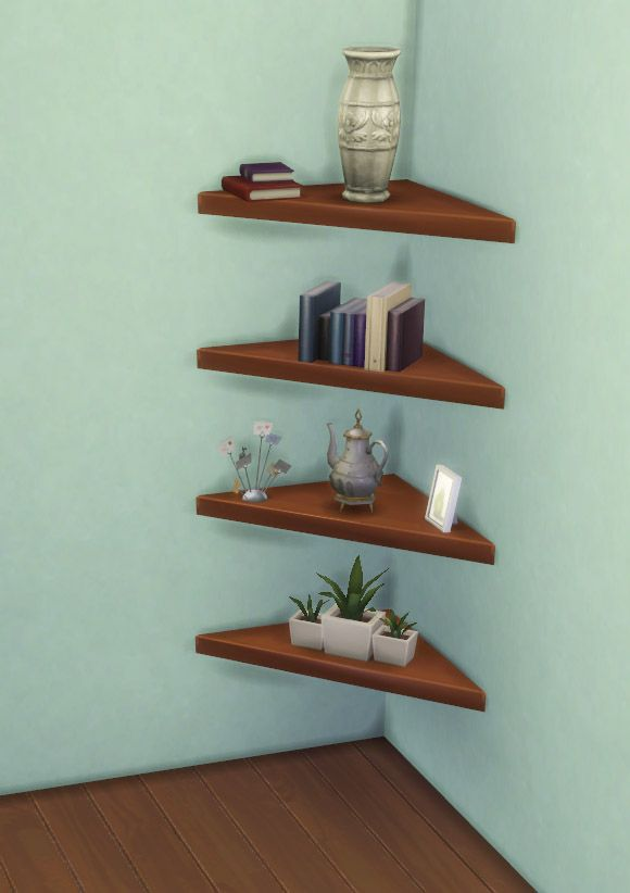 The Mega Minimal Corner Shelf by IgnorantBliss at Mod The Sims via Sims 4 Updates