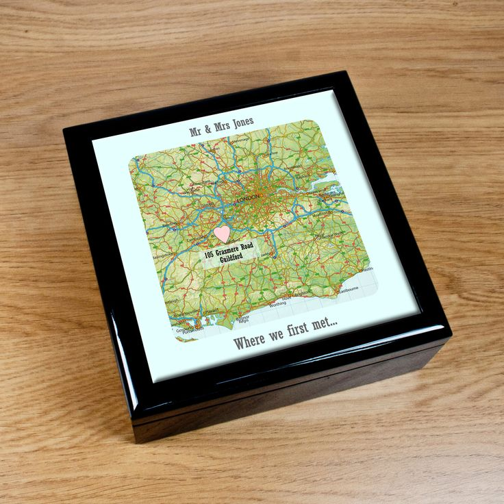 Our Special Place Keepsake Box - a map of somewhere special to you, along with your names, a message and date #valentines gifts map travel