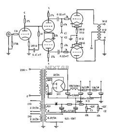 Vented 2a3p 2a3pp-15w Tube Amplifier circuit diagram