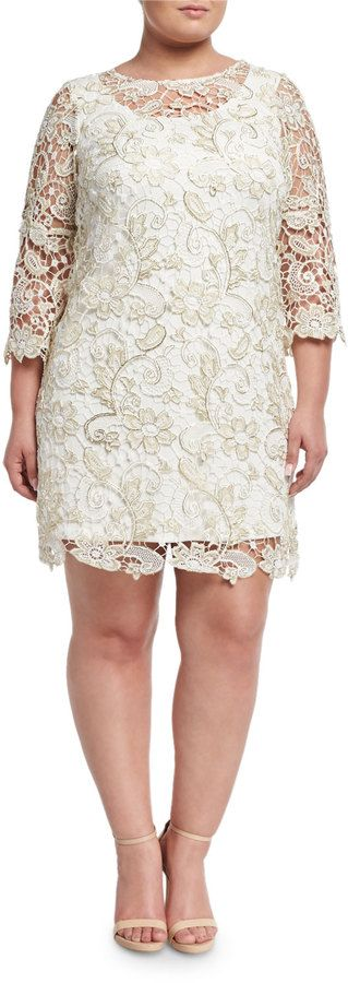 Marina Plus Floral Lace-Overlay Dress, Gold, Plus Size at Last Call by Neiman Marcus #affiliatelink