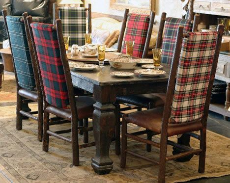 Love these mismatched plaid chairs for a rustic mountain hideaway!