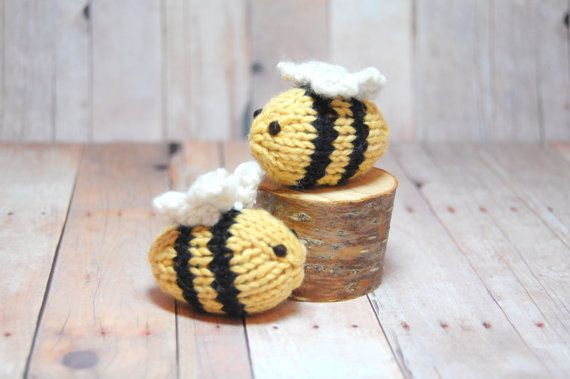 Toy Bee Knit Bumble Bee Soft Toys Ornaments Wedding Easter Spring Natural Fibers Black Yellow