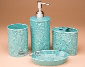 4 pc. Southwestern Bath Set -Soft Turquoise (bs8)