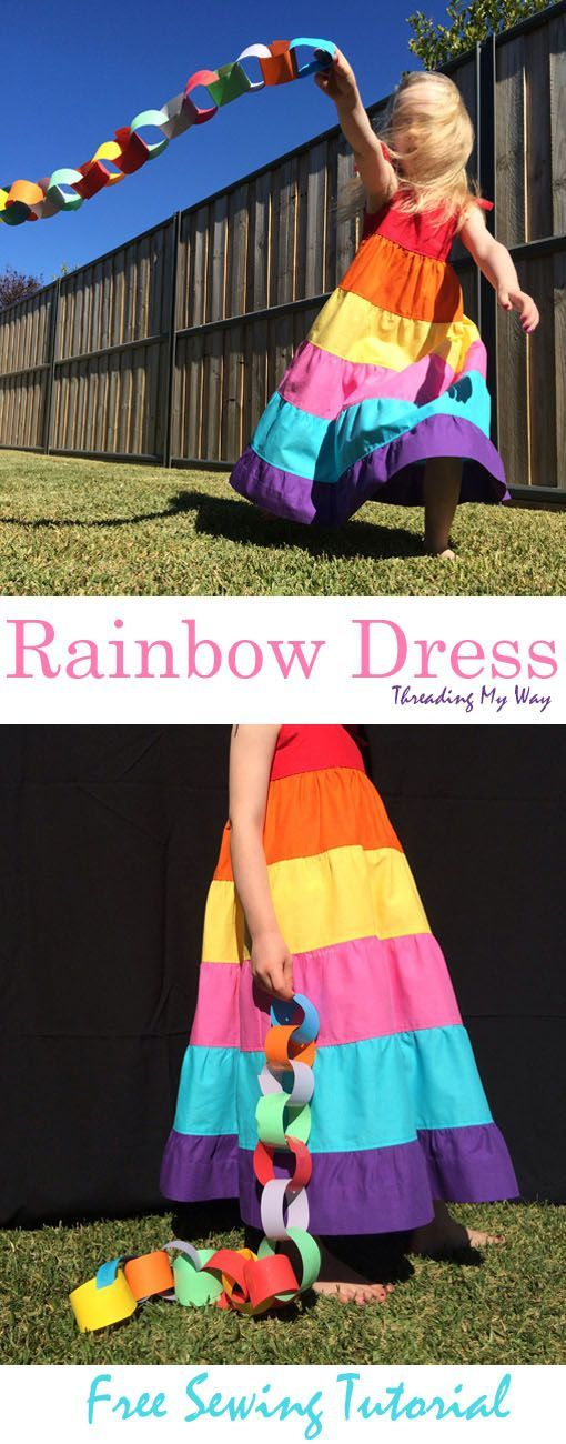 Learn how to make a tiered rainbow maxi dress, with shirring on the bodice. Tutorial at Threading My Way.