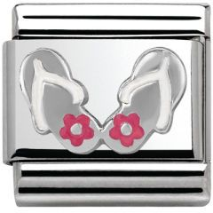 Nominations Italian Charm in stainless steel. Silvershine Charm 33020230, Flip Flop.