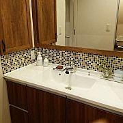 Bathroom/洗面所/タイル/モザイクタイル/IKEA 照明/造作洗面台...などのインテリア実例 - 2016-07-20 10:36:21