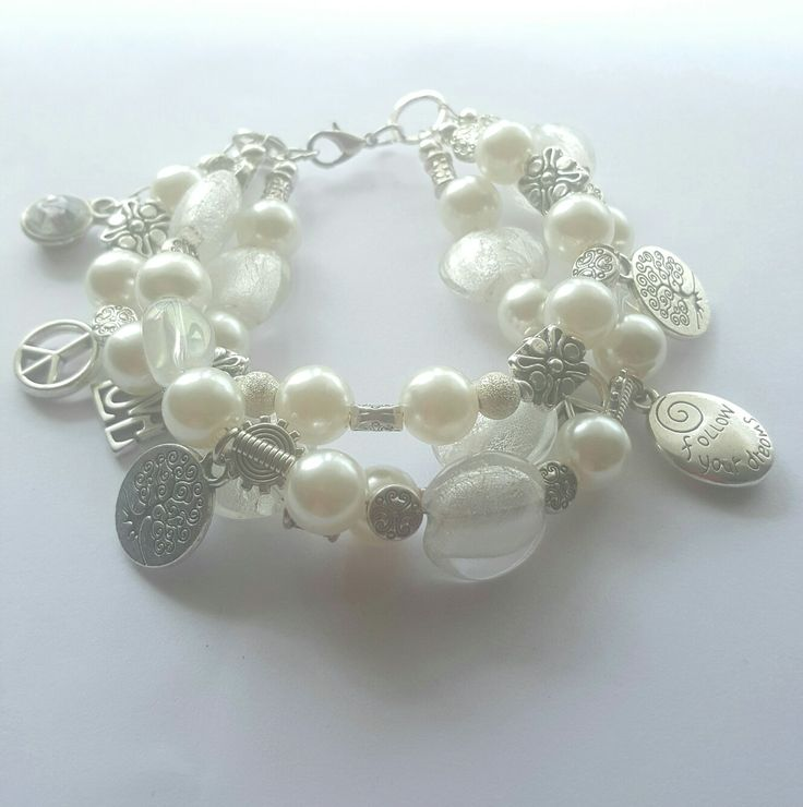 White Bohemian Goddess triple tiered bracelet.