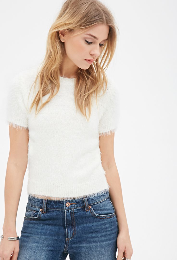 Short-Sleeved Fuzzy Sweater | FOREVER21 - 2000082103
