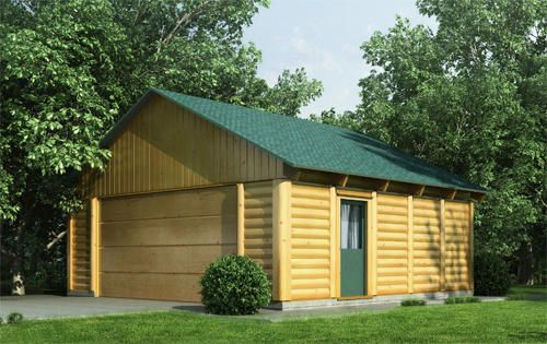 Woody garage log cabin kit only at menards garage for Log home garage kits