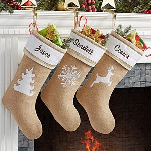 Personalized Burlap Christmas Stockings - Rustic Chic Burlap - 15107