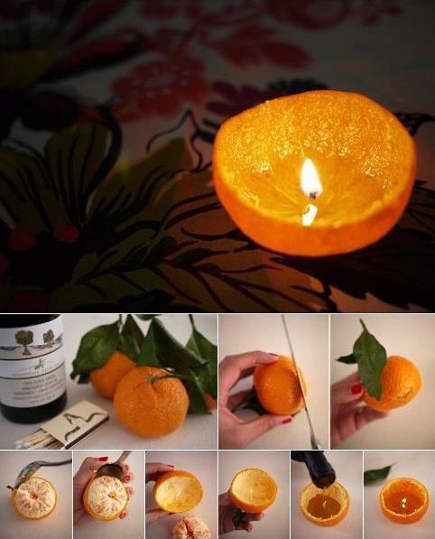 Candela: buccia d'arancia o mandarino e olio vegetale (d'oliva, di mais, di soia...)