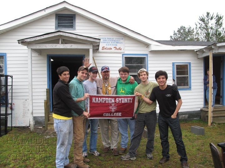 Six Hampden-Sydney men spent Spring Break 2010 on a mission trip working with the Edisto Indian Tribe in Ridgeville, South Carolina. The men went down there to help repair the community center (the building in front of which they were standing) and do other jobs.   H-SC Trip Participants: Matt Boschen '13, Justin Gordon '13, David Barrett '13, John Murray '12, Adam Lees '11, Nay Min Oo '12.