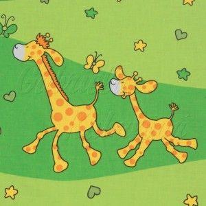 Dětské látky metráž - Žluté žirafy na zelené barvě, 10 cm