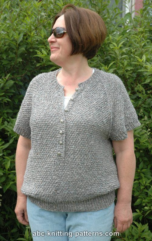 ABC Knitting Patterns - Summer Night Short-Sleeve Raglan Henley