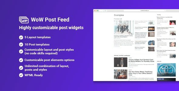 WoW Post Feed plugin for creating article and post lists  The plugin