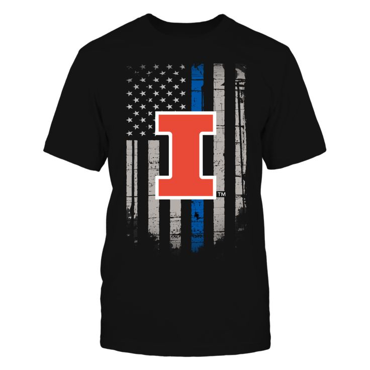 Thin Blue Line - Illinois Fighting Illini Front picture Illinois Fighting Illini fan. This t-shirt is a wonderful gift for you, your father, brother, sister, mother, grandfather, grandmother, aunt, uncle, fire boy, niece for parties, birthday, Father's Day, Thanksgiving, Christmas, New Year