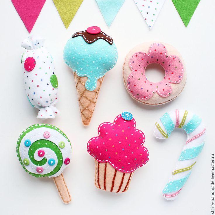 Купить Сладости из фетра - мятный, розовый, голубой, сладости, сладости из фетра, фетровые сладости, из фетра