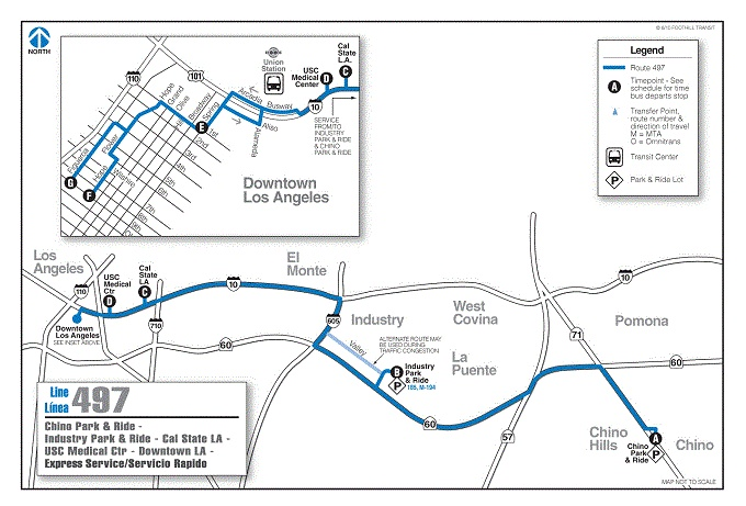 Foothill Transit Bus Schedule Line 497 Chino Park & Ride - Industry Park & Ride -  Downtown Los Angeles