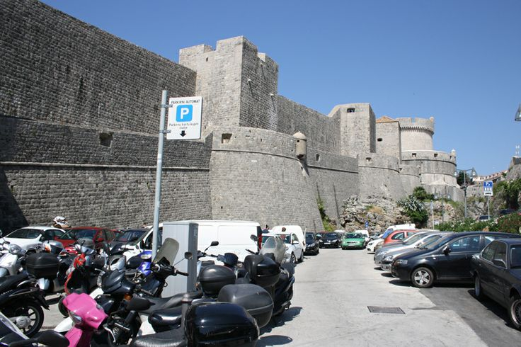 Stone walls of the medieval city Dubrovnik in Croatia.