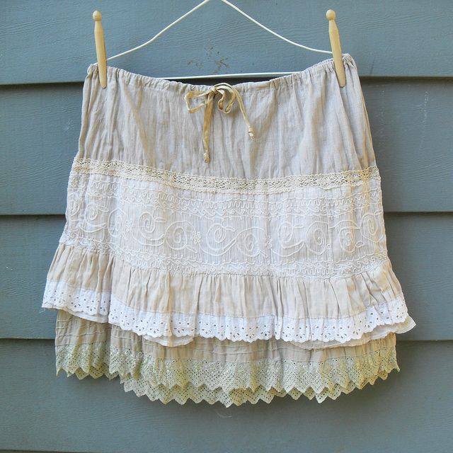 Prairie Grunge Ruffled Layers Skirt - Boho Style Upcycled Vintage Reconstructed    Prairie grunge ruffle skirt is made from layers of repurposed eco friendly, vintage cottons, linens, and lace.