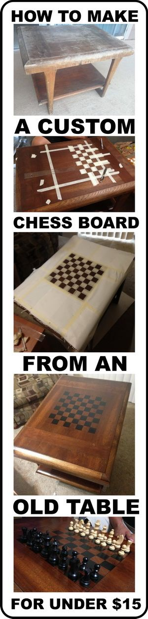 How To Make A Custom Chess Board From An Old Wooden Table For Under $15 Dollars