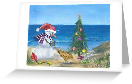 Cute Christmas picture of the snowman visiting his friend Kiwi and giving him a present at the beach. • Also buy this artwork on stationery, kids clothes, stickers, and more.