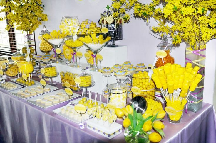 How to Set Up A Candy Bar - Yellow Candy Buffet Table - Mazelmoments.com