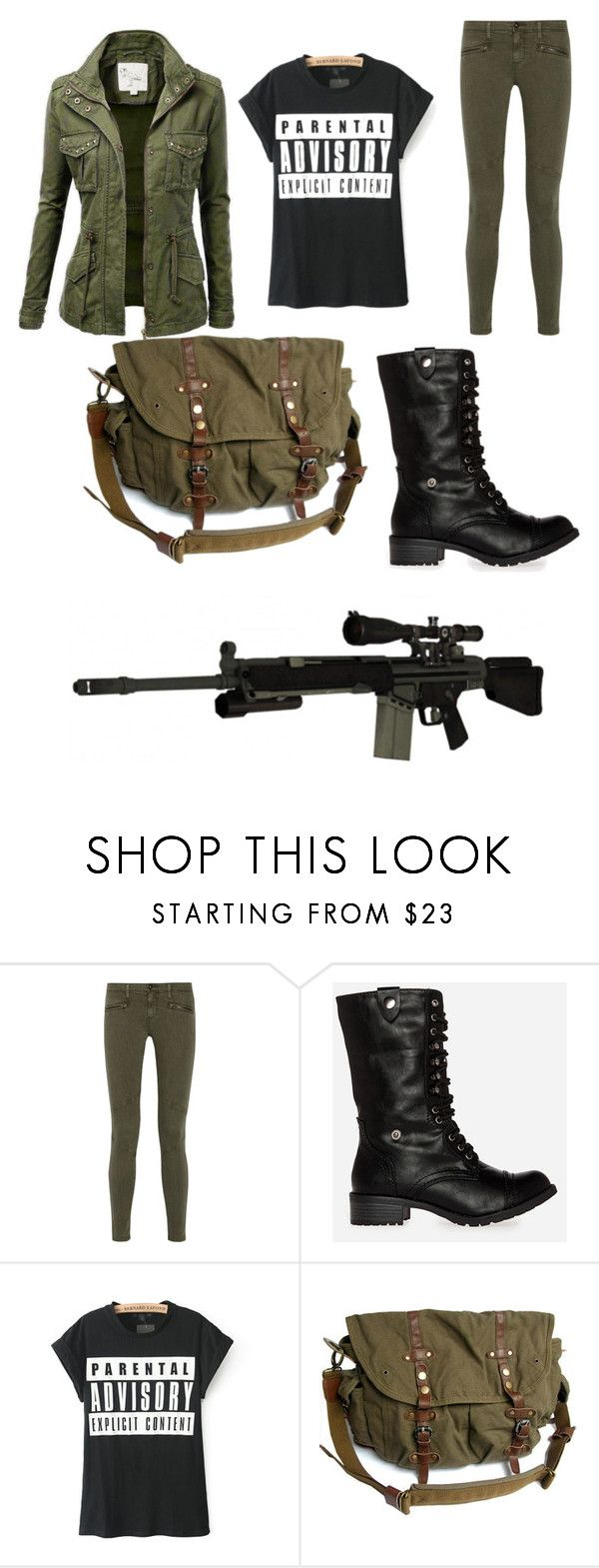 """""""Another version of 10k from Z Nation"""" by wallslilly ❤ liked on Polyvore featuring AG Adriano Goldschmied, DailyLook and RIFLE"""