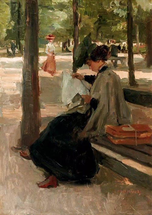 Reading in the Bois de Boulogne. Isaac Israëls.