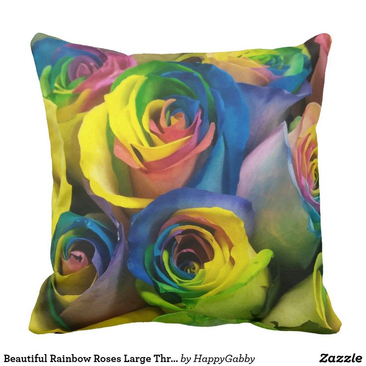 Beautiful Rainbow Roses Large Throw Pillow
