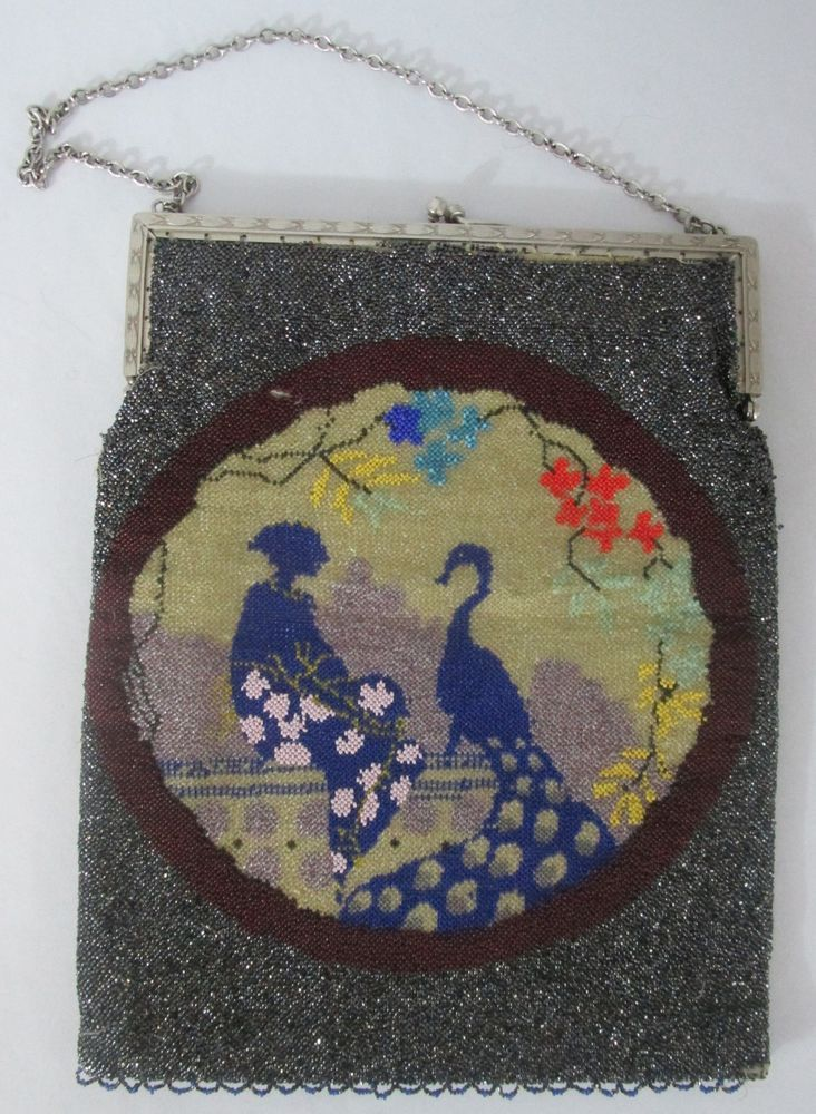 Vintage Micro Bead Purse Evening Bag GRAY 1930 s Japanese Scene Double Sided