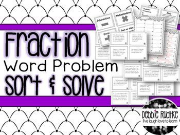 This file consists of 24 fraction word problem cards, operation headers for sorting (add, subtract, multiply, divide, or more than one operation), student direction cards, two recording sheets, and answer keys. Just print on card stock or paper and lamina