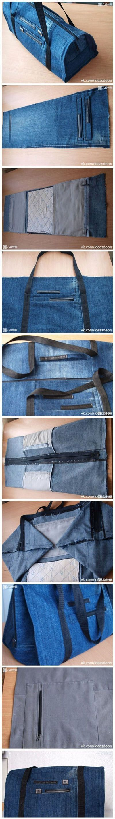 Diy Jean Bag   DIY & Crafts Hoping I can figure this out from the pictures... or have someone else who sews more than I do make it for me! =D