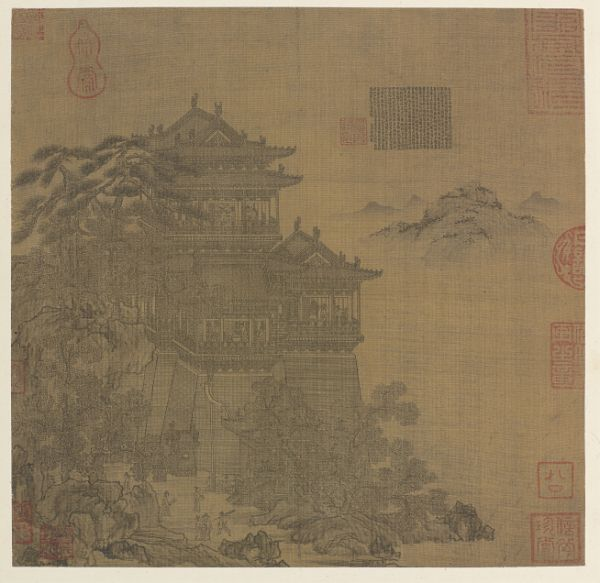 Can you imagine how ancient Chinese artists created architectural drawings without CAD software? They used an ungraduated ruler called a jiechi 界尺, a brush attached to a stick that could move smoothly along a groove, allowing the artist to draw straight lines. This is a jiehua 界畫 (ruled-line) ink painting, the only non-freehand style of Chinese painting, which shows the Yueyang Pavilion in Hunan province.