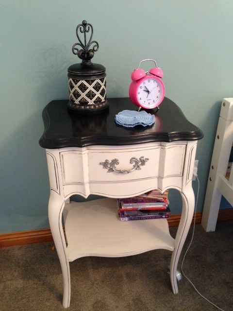 Refinished French Provincial Night Stand  Jan 2015 top stripped & ebony stained-- bottom painted & glazed