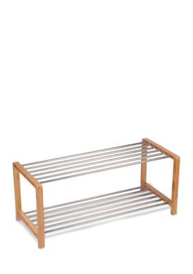 household essentials bamboo and steel large shoe rack natural one size