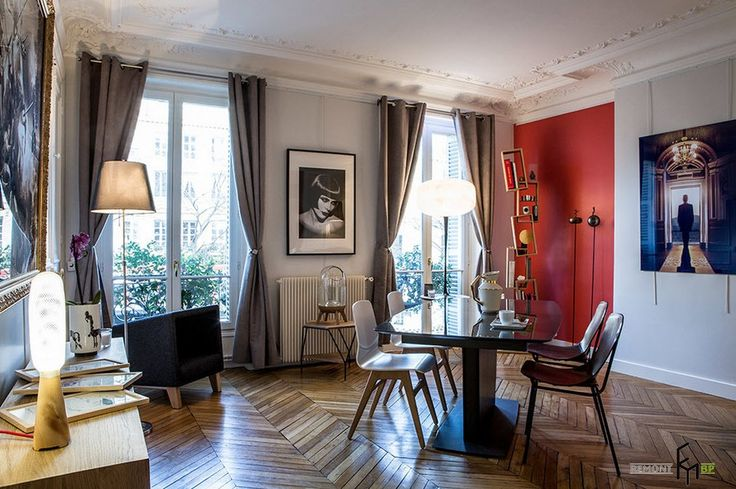 Колоритный дизайн одной парижской квартиры: дизайн проект на фото