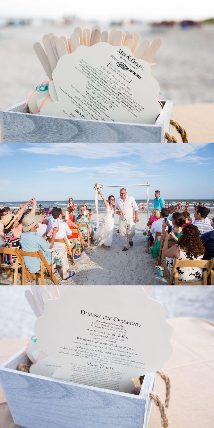 Wedding on the beach, The Beach House, Hilton Head Island, SC. Fans as programs. (c) Greg Ceo, SavannahWeddingphoto.com @thebeachhousehh
