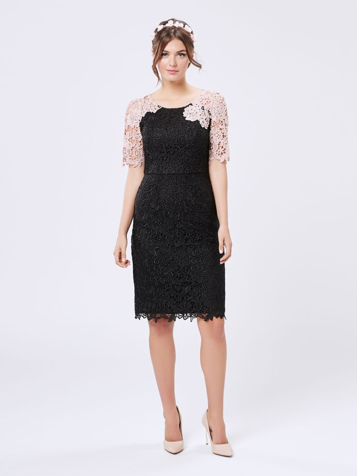 Amber Lace Dress | Black and Apricot | New Arrivals