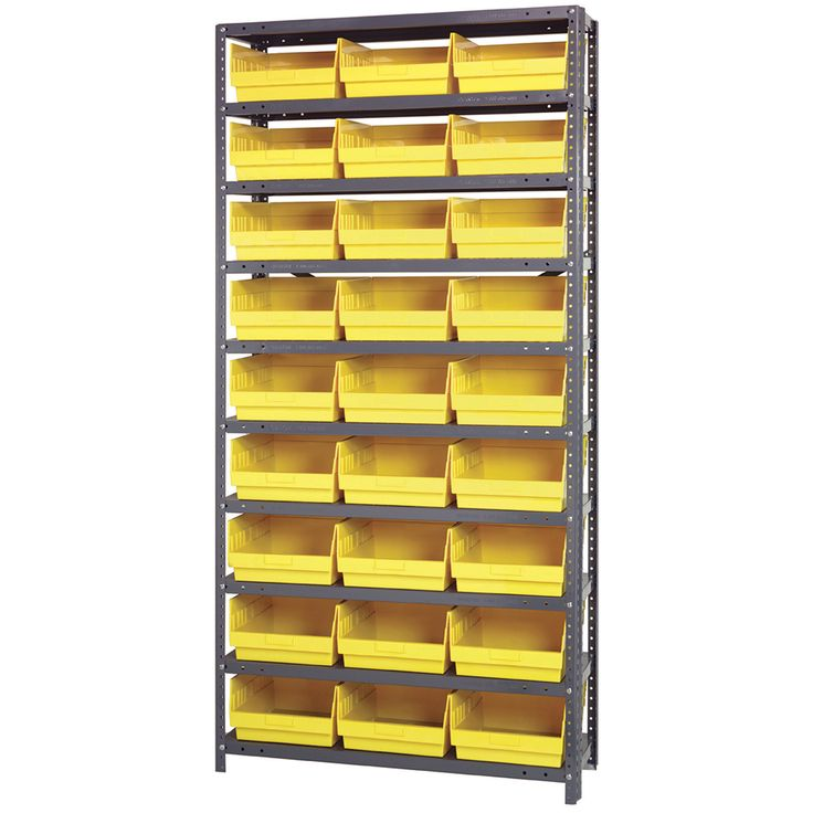 quantum storage complete shelving system with 6in bins 36in w x 12in