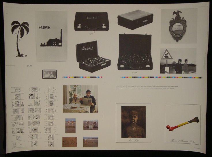 """BROODTHAERS (Marcel) -  Affiche (1974) -  Impression en noir et en couleurs tirée sur papier couché réunissant les différentes illustrations proposées dans le catalogue d'exposition du Palais des Beaux-Arts de Bruxelles. Dim. : 61,5 x 86 cm. """"Cette planche non signée et non numérotée ne peut être considérée séparément du catalogue où les mêmes images sont présentées dans un contexte de lecture différent""""."""