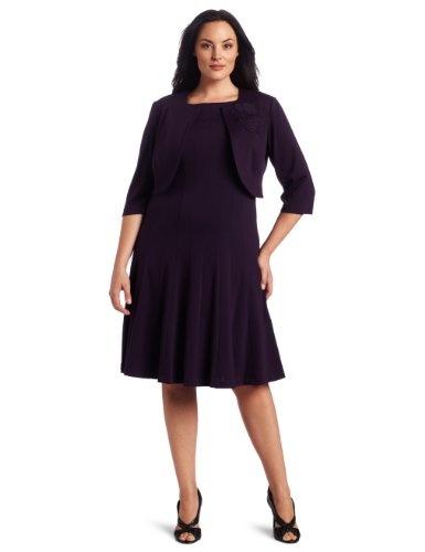 Jessica Howard Women's  Pintuck Ponte Jacket Dress with Rosette