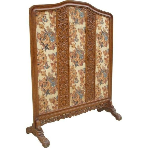 Antique Victorian Carved Tall Floor Screen Room Divider ($1,895) ❤ liked on Polyvore featuring home, home decor, panel screens, screens & room dividers, fabric screen, freestanding room dividers, fabric home decor and fabric room dividers