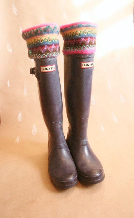 SLUGS Fleece Rain Hunter Boot Liners Pink with a Sweater cuff. #hunterrainboots #etsy