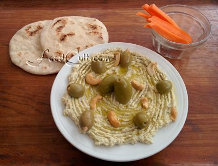 A perfect evening #snack takes many forms. #HomeMade #hummus served with fresh, #organic homemade #pita, mixed #olives and #cashews drizzled with #OliveOil, served with #carrot sticks. #Healthy, good quality, #protein ... and 100 % #vegan! #Free, Easy #recipes @ http://www.foodcult.com -  #food matters!