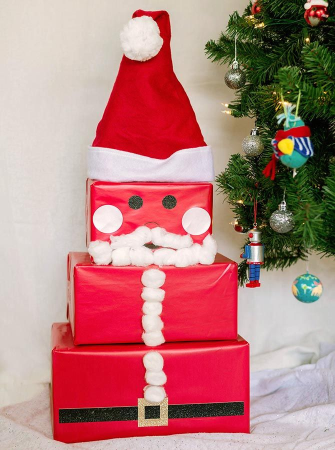 Towering Jolly Santa Claus Gift Box How To Walmart Com Christmas Wrapping Diy Unique Gift Wrapping Christmas Creative Christmas