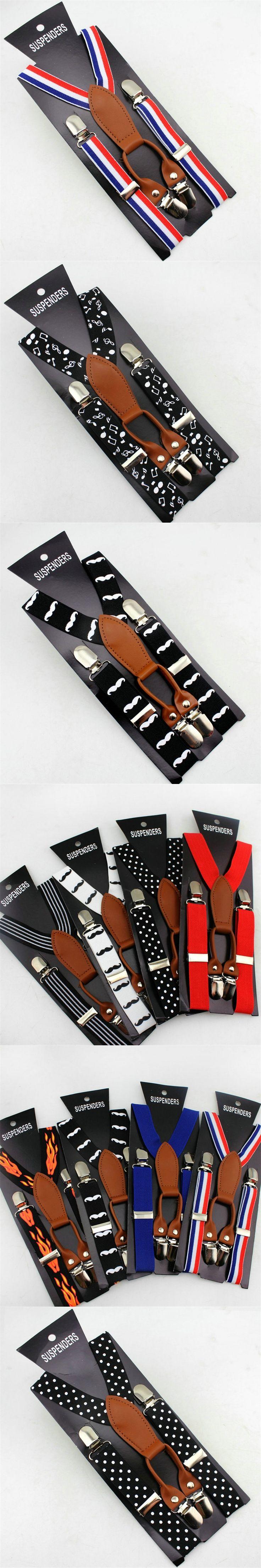 2016  kids Braces suspenders print Children boys/girls Clip-on Adjustable Y-back Suspender Elastic belts straps braces
