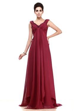 Spring Sweep/Brush  V-Neck All Sizes A-line Floor-Length Sleeveless Empire Dress